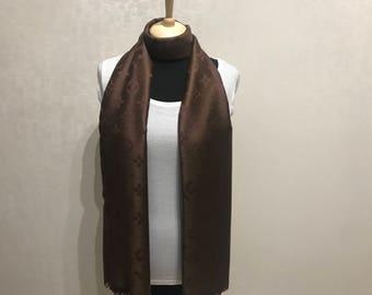 Chocolate color scarf. Brown monogra, shawl.
