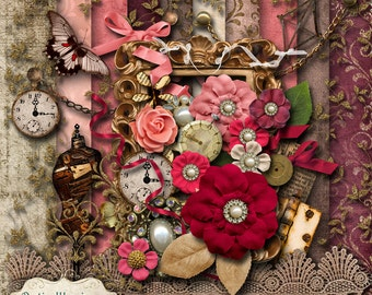 EVERLASTING - Digital Scrapbooking Kit - 10 Papers and 35 Elements -4.75