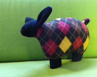 Stuffed sheep, flat toy, argyle stuffed lamb, fleece sheep