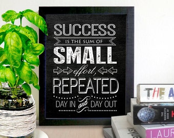 PRINTABLE SUCCESS QUOTE / Chalkboard Printable Quote / Instant Download / 8 x 10 digital download