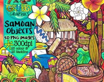 Samoan Objects Clip Art, Instant Digital Download