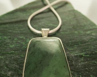 Handmade Alaska Jade Rectangular Pendant