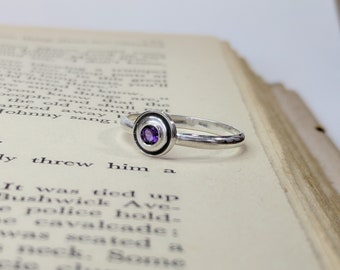 Amethyst Orbit Ring, Solitaire Ring, Faceted Disc Ring, Faceted Gem Stone, Faceted Gems, Orbital Ring, Orbit Ring