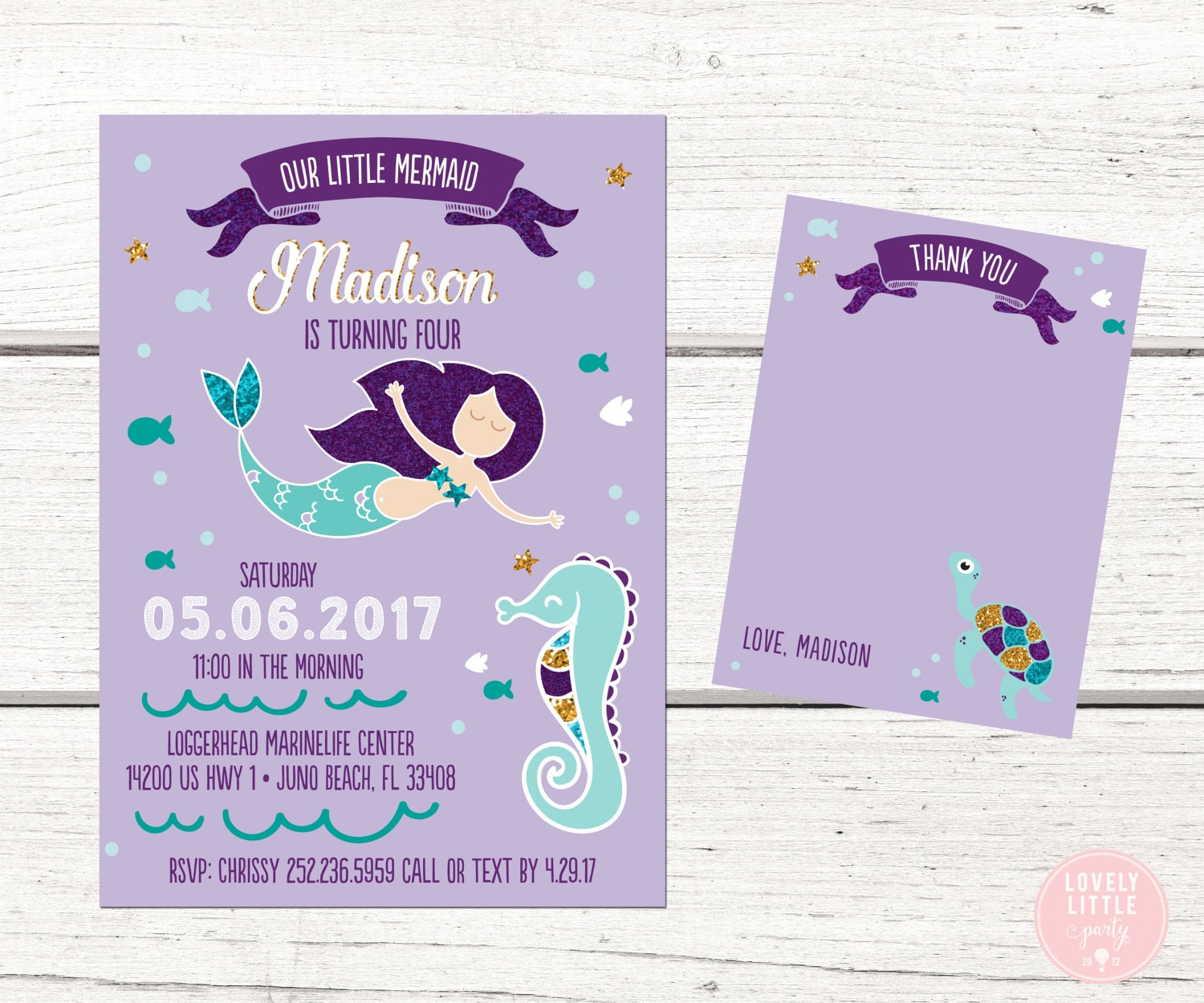 Our Little Mermaid Party invitation, Mermaid Invitation Kit - Invite ...