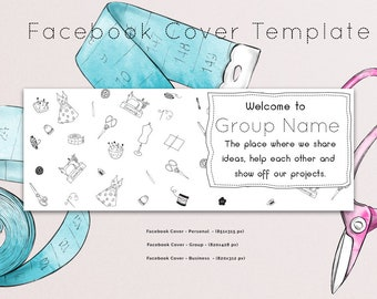 Sewing Facebook Group Cover Template, Facebook Cover Template, Facebook Banner, Facebook Timeline, Facebook Template, INSTANT DOWNLOAD