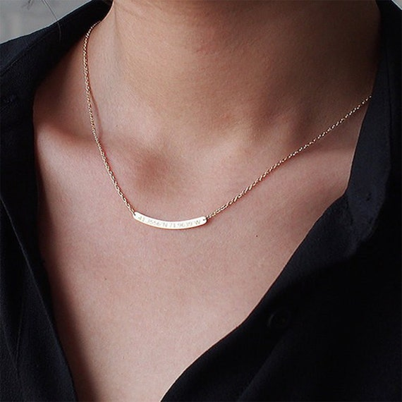 f868343406dece Carved gold bar necklace, Gold Bar, Rose Gold Engraved Bar, Nameplate Bar,