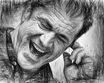 Mel Gibson,Line Art,Abstract,Drawing,Geschenk,Unikat,Geburtstag,Home,Paint,Portrait,Deko,Architekt,Raumplaner,Leinwand,Wohnung,Wand Deko