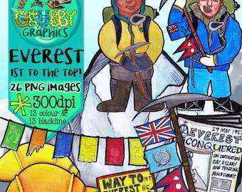 Mount Everest Clip Art, Instant Digital Download