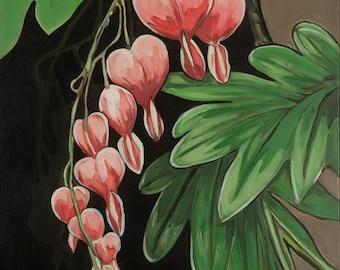 Bleeding Heart # 1, floral paintings, floral prints, bleeding hearts paintings prints, modern art contemporary paintings