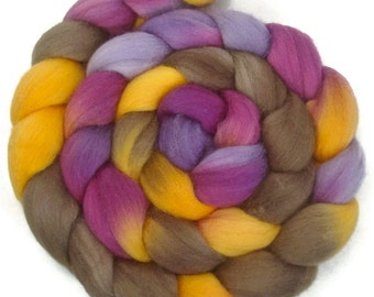 Handpainted Polwarth Wool Roving - 4 oz. CROCUS - Spinning Fiber