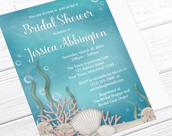 Under the Sea Bridal Shower Invitations - Whimsical Underwater design, Aquarium Bridal Shower invites - Printed Under the Sea Invitations