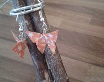 Orange color origami butterfly earrings