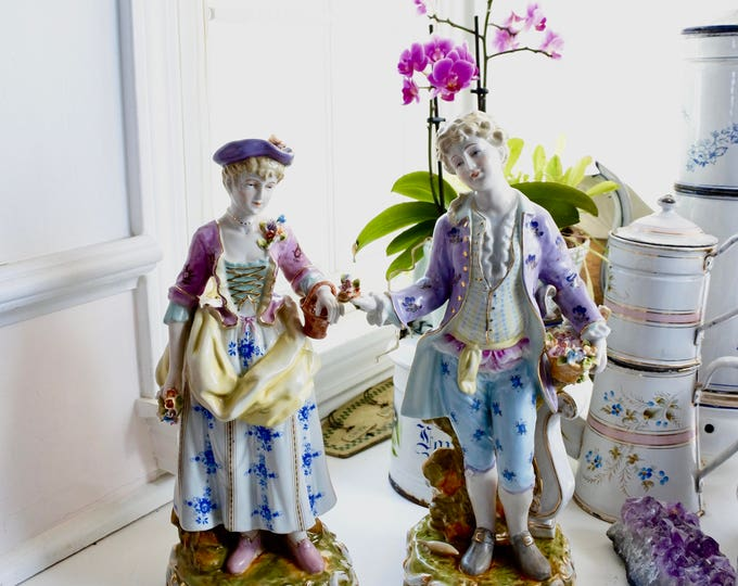 Featured listing image: French Porcelain Figurines, 18th century Rococo style, signed, Antique, c. 1920's, Romantic gallant figures, Valentines Gift, Lovers,