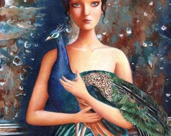 A Girl and Her Peacock, Art Print, Whimsical, Gift, Peacock Art, Girl's Room Decor, Bedroom Art,
