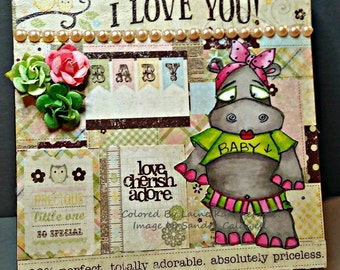 393 Mama To Be Hippo Digi Stamp