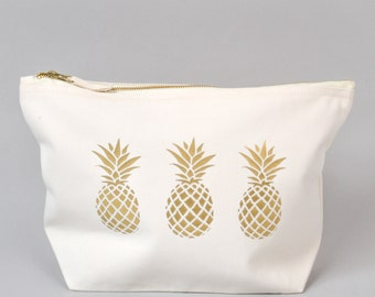 Large Zipped Make up / Toiletry Bag with Gold foiled Pineapples on a Natural Cotton Canvas