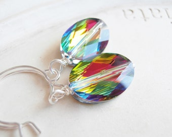 Swarovski Crystal Earrings - Rainbow Oval Silver Earrings