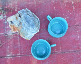 Turquoise Tea Cups - Set of Two Vintage Little Cups with Handles