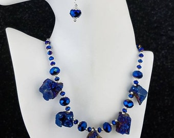 Evening Blue Necklace & Earrings Set