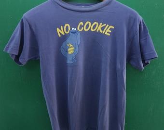 Vintage Sesame Street Cookie Monster Shirt Big Logo Cartoon Streetwear Top Tee T Shirt Size S