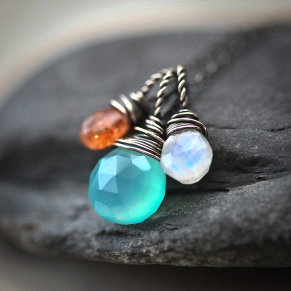 Wire Wrapped Trio - Aqua Blue Chalcedony Rainbow Moonstone Sunstone Briolette Sterling Silver Necklace