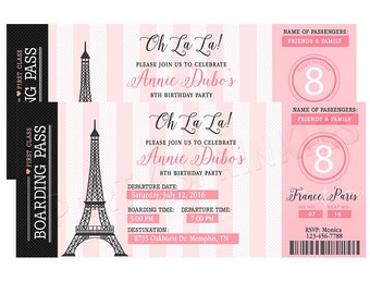Pink & Black Paris France Girl Birthday Party Invitation - Boarding Pass Ticket Style Invitation, Paris Party