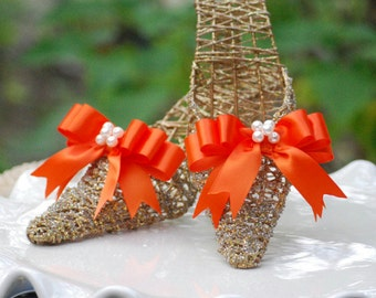 Shoe Clips Tangerine Orange / Blue / Aqua / Green Bows. Whimsical Gift Under 50, Ivory / White Pearls Orange Satin Ribbon, Bright Happy Chic