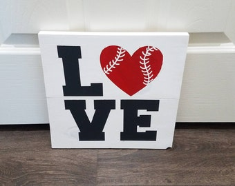 LOVE - Wooden Baseball Sign