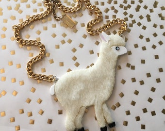 Furry Alpaca Necklace, Laser Cut Acrylic, Plastic Jewelry