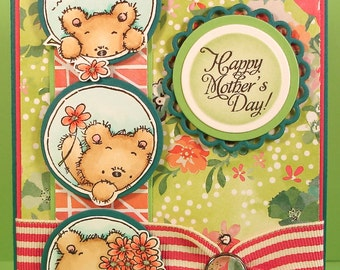 Mother's Day Card with Trio of Hand Stamped and Colored Bear Images