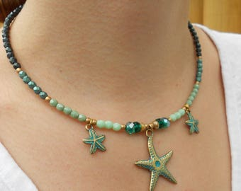 Beach necklace,starfish necklace,boho necklace,sea necklace,green necklace,gold necklace,tropical necklace,beaded necklace