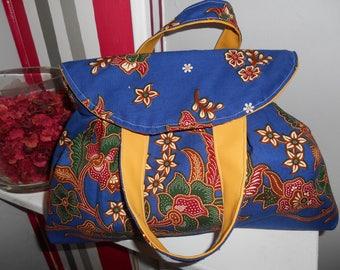 tote bag in double Indonesian batik fabric waterproof