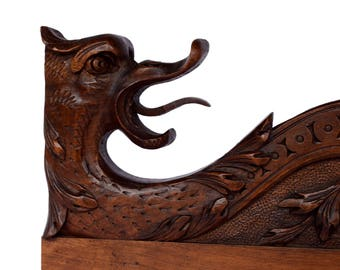 Bon French Antique PAIR Of Hand Carved Walnut Wood Griffin Furniture Support    Chimera Dragon Corbel Shelf