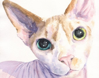 Sphynx cat watercolor Print of the Original Painting art cute Sweet painting Decor