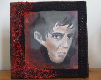 Original portrait of Barnabas Collins. Mixed media vampire art.