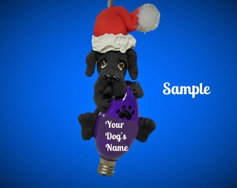 Black Great Dane Santa dog natural ears Christmas Holidays Light Bulb Ornament Sally's Bits of Clay PERSONALIZED FREE with dog's name