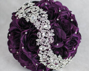 Purple Bouquet Purple Brooch Bouquet Wedding Purple Wedding Bouquet Bridal Bouquet Silver Bouquet Purple Fabric Bouquet Bridesmaids Bouquet