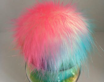 Luxury Rainbow Sherbet Faux Fur Pom Pom