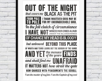 Invictus poem, poem print, i am the master of my fate, motivational poster, wall art, inspirational quote, poems, typography wall art