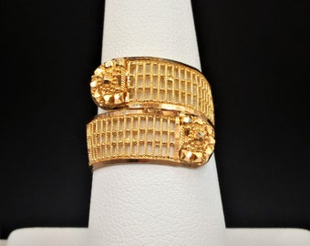 """GOLDSHINE 22K Solid Yellow Gold RING Size 7.5 (US/Canada) Handcrafted Hallmarked 22KDM """"Stunning"""""""