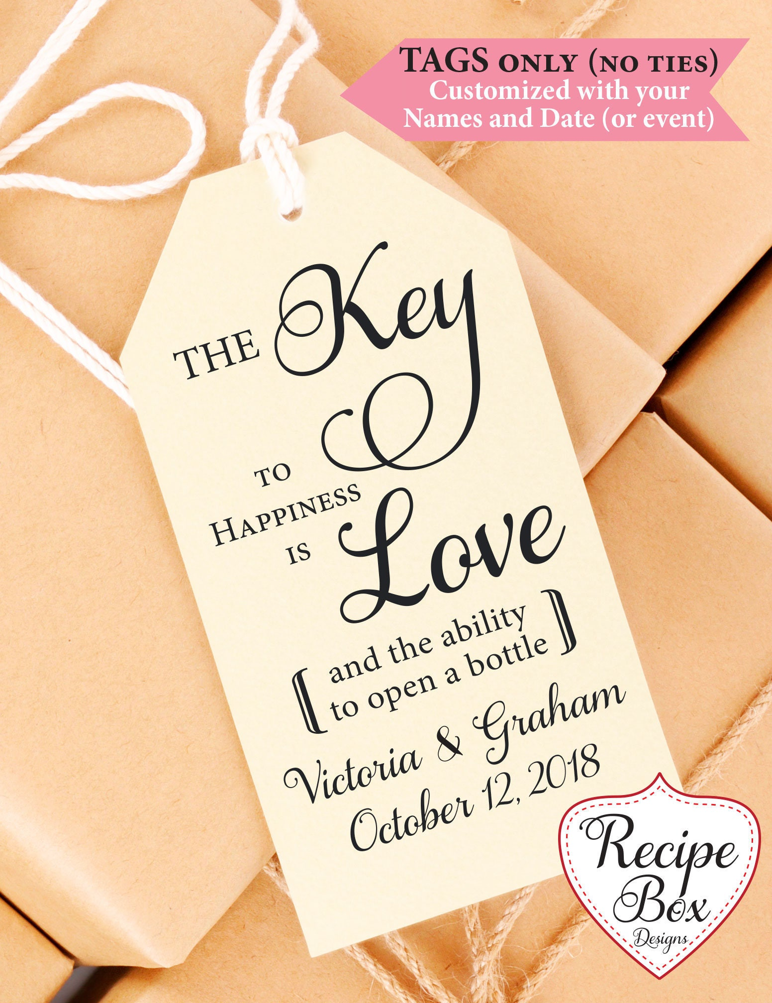 Key to happiness Tags, Bottle Opener Tags, Gift Tag, Wedding Favor ...