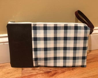 Genuine Leather and Cotton Wristlet/Clutch (Stylish by day, runner by night)