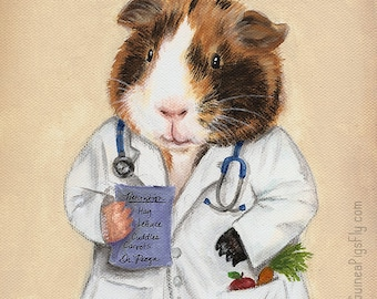 Dr. Peega Guinea Pig Doctor Art Print from Original Painting