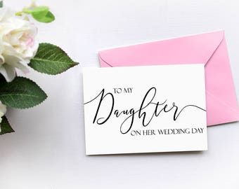 To My Daughter On Her Wedding Day Card, Mother of the Bride Father of the Bride Card Daughter Card, Wedding Thank You Card, Bride Gift Card