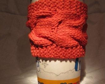 Coffee Cup Cozy, Orange Knit Tea Sleeve, Cable Knit Reusable Coffee Sleeve, Eco Friendly, Graduation Teacher Gift