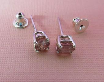 Zircon Earrings - Pink Sparklers Natural Zircon Post Earrings - Oval Zircon Sterling Silver Post Earrings