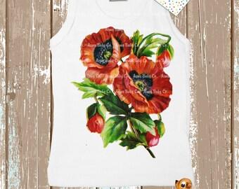 Red Poppies, Tank Top, Poppy Flowers Kids Shirt, Baby Children's Infant Tee,  3m, 6m, 12m, 18m, 2, 4, 6, 8, 10, 12