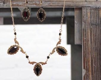 Sadie Green's Art Nouveau Jet Black or Peridot Green Swarovski Crystal Necklace and Earrings Set