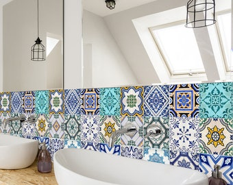 Traditional Spanish Tiles - Wall - Stairs - Tile Stickers - Removable Kitchen Bathroom Decal - PACK OF 24