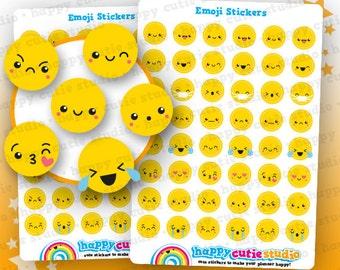 48 Cute Emoji/Emotion/Emoticon/Mood Planner Stickers, Filofax, Erin Condren, Happy Planner, Kawaii, Cute Sticker, UK